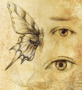 Woman eye and butterfly, Drawing on vintage paper.